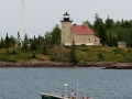 Copper Harbor Lighthouse tour boat returning to dock