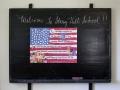 Pledge of Allegiance on blackboard - Stony Hill School, Fredonia, Wisconsin